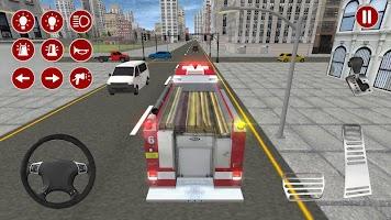 Screenshot 1: Real Fire Truck Driving Simulator: Fire Fighting